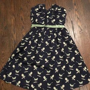 Anthropologie Strapless Bird Dress, Size 0